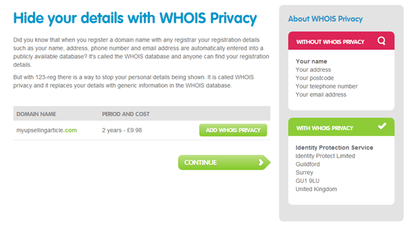 123-Reg WHOIS Privacy Upsell Option