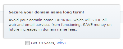 Crazydomains tooltip showing the reasons to choose a longer duration