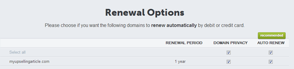 Crazydomains renewal options showing Auto Renew option