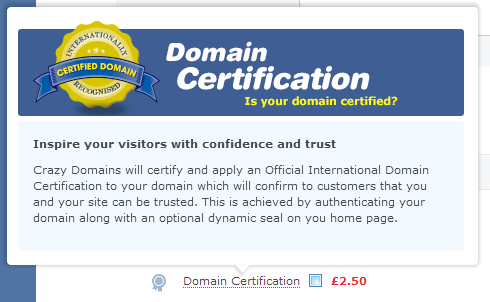 Crazydomains Domain Certification description