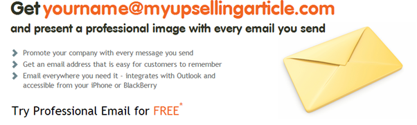 Crazydomains email upsell showing benefits to the business