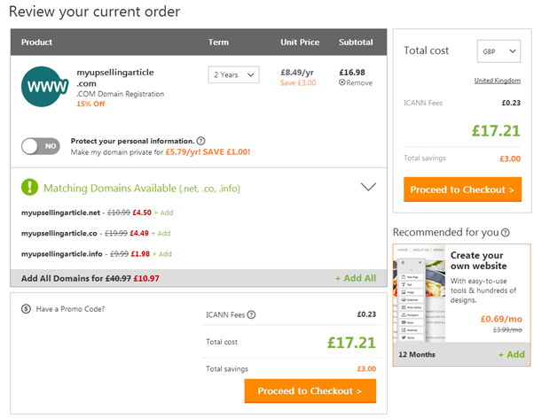 GoDaddy basket with total cost of £17.21