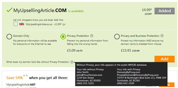 GoDaddy privacy protection options showing three prices