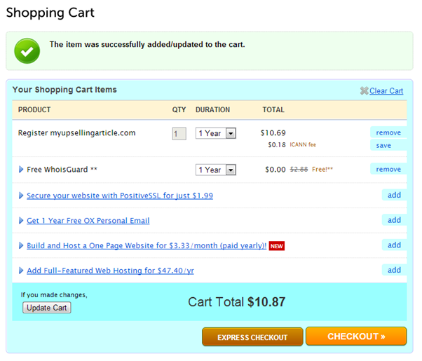 Namecheap shopping cart with upselling options