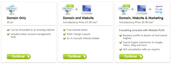 Register.com hosting upsell showing different options